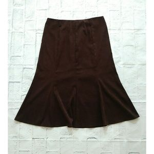 Dress Barn Chocolate Faux Suede A-line Midi Skirt